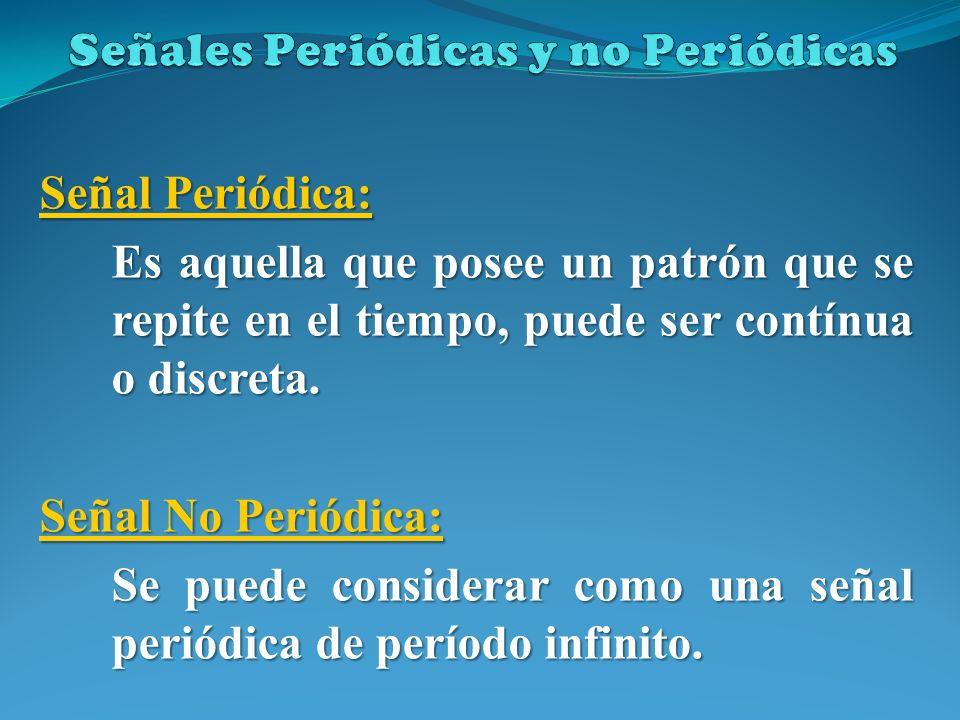 Señal Periódica: Es aquella que posee un patrón que se repite en el tiempo, puede ser contínua o discreta. Señal No Periódica: Se puede considerar com