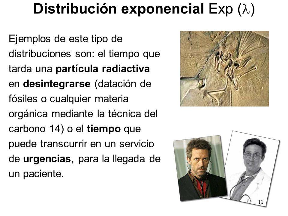 Distribución exponencial Exp ( ) Ejemplos de este tipo de distribuciones son: el tiempo que tarda una partícula radiactiva en desintegrarse (datación