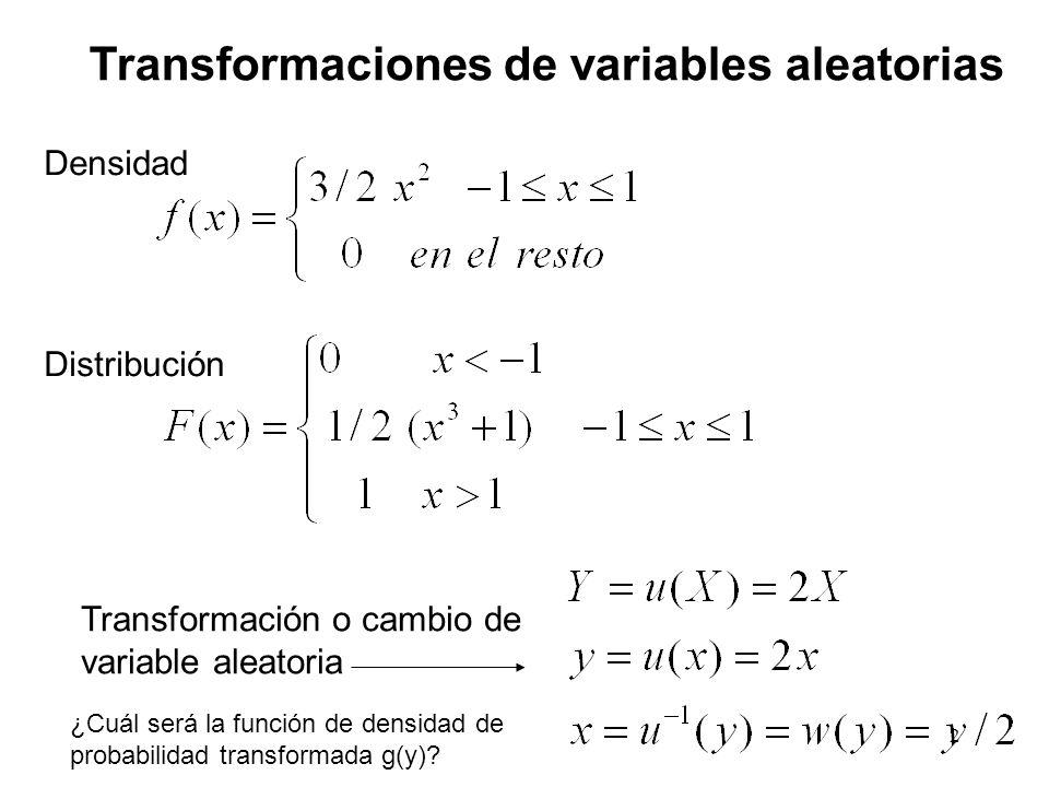 Transformaciones de variables aleatorias Densidad Distribución Transformación o cambio de variable aleatoria ¿Cuál será la función de densidad de prob