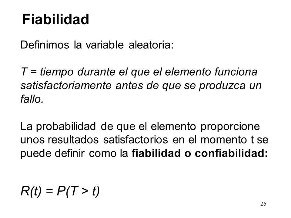 Definimos la variable aleatoria: T = tiempo durante el que el elemento funciona satisfactoriamente antes de que se produzca un fallo. La probabilidad
