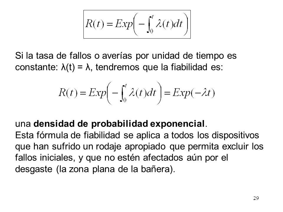 Si la tasa de fallos o averías por unidad de tiempo es constante: λ(t) = λ, tendremos que la fiabilidad es: una densidad de probabilidad exponencial.