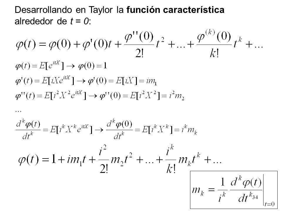 Desarrollando en Taylor la función característica alrededor de t = 0: 34