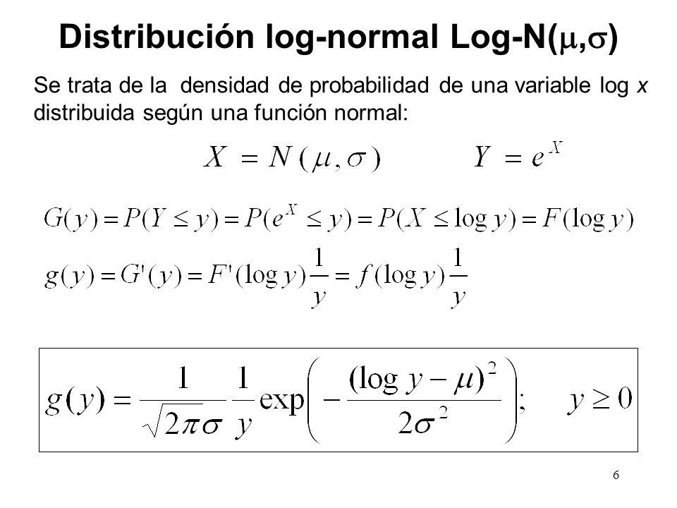 Distribución log-normal Log-N(, ) Se trata de la densidad de probabilidad de una variable log x distribuida según una función normal: 6