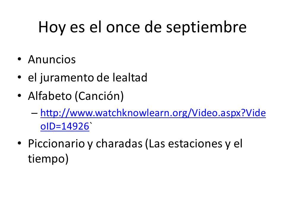 Para Empezar #7 Respondan en espanol Mi cumpleaños es el veinte de diciembre 1. ¿Cuándo es tu cumpleaños? Mañana es el doce de septiembre (13/9) 2. ¿C