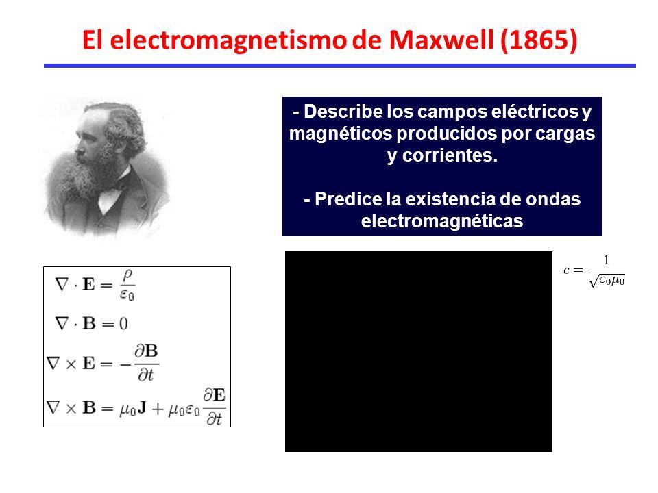 El electromagnetismo de Maxwell (1865) - Describe los campos eléctricos y magnéticos producidos por cargas y corrientes.