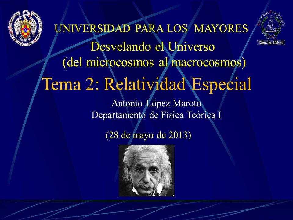 Antonio López Maroto Departamento de Física Teórica I Tema 2: Relatividad Especial (28 de mayo de 2013) Desvelando el Universo (del microcosmos al macrocosmos) UNIVERSIDAD PARA LOS MAYORES