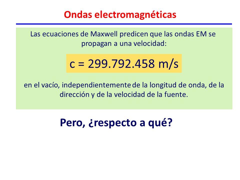 Ondas electromagnéticas c = 299.792.458 m/s en el vacío, independientemente de la longitud de onda, de la dirección y de la velocidad de la fuente.