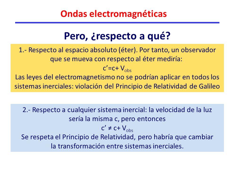 Ondas electromagnéticas 1.- Respecto al espacio absoluto (éter).