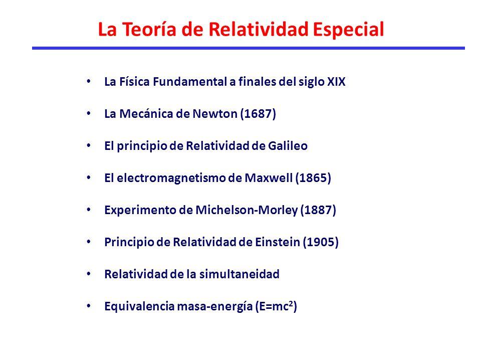 La Física Fundamental a finales del siglo XIX La Mecánica de Newton (1687) El principio de Relatividad de Galileo El electromagnetismo de Maxwell (1865) Experimento de Michelson-Morley (1887) Principio de Relatividad de Einstein (1905) Relatividad de la simultaneidad Equivalencia masa-energía (E=mc 2 ) La Teoría de Relatividad Especial