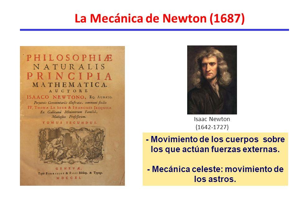 La Mecánica de Newton (1687) - Movimiento de los cuerpos sobre los que actúan fuerzas externas.