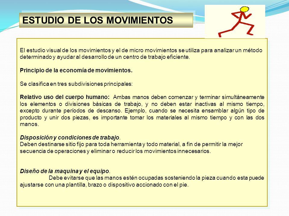 ESTUDIO DE LOS MOVIMIENTOS El estudio visual de los movimientos y el de micro movimientos se utiliza para analizar un método determinado y ayudar al d
