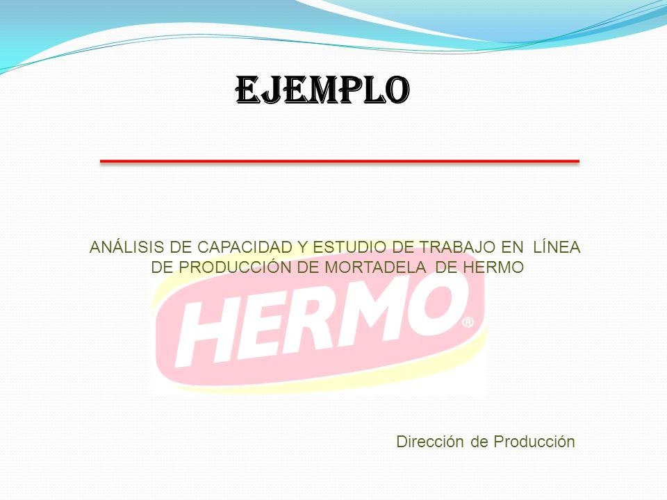 ANÁLISIS DE CAPACIDAD Y ESTUDIO DE TRABAJO EN LÍNEA DE PRODUCCIÓN DE MORTADELA DE HERMO Dirección de Producción EJEMPLO