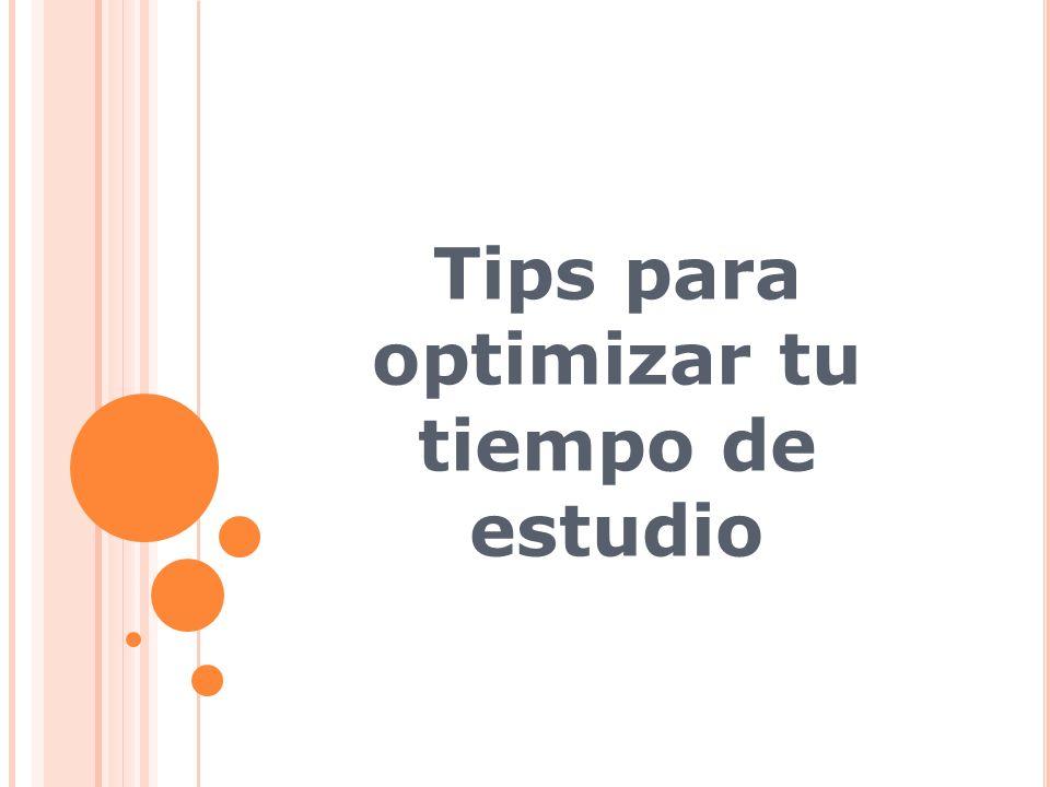 Tips para optimizar tu tiempo de estudio