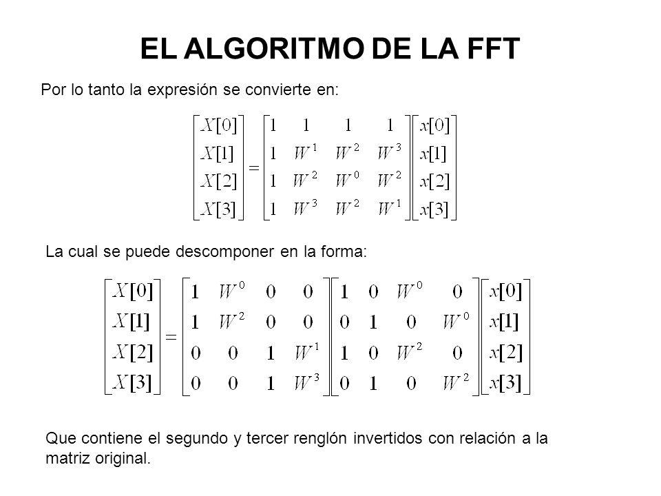 EL ALGORITMO DE LA FFT Por lo tanto la expresión se convierte en: La cual se puede descomponer en la forma: Que contiene el segundo y tercer renglón invertidos con relación a la matriz original.