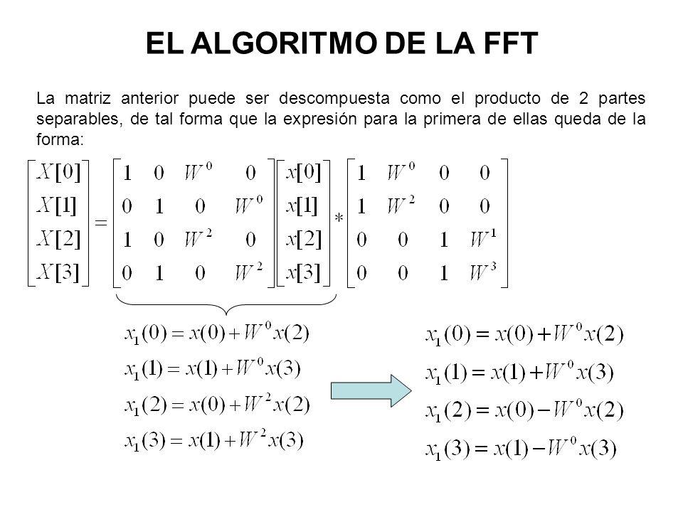 EL ALGORITMO DE LA FFT La matriz anterior puede ser descompuesta como el producto de 2 partes separables, de tal forma que la expresión para la primera de ellas queda de la forma:
