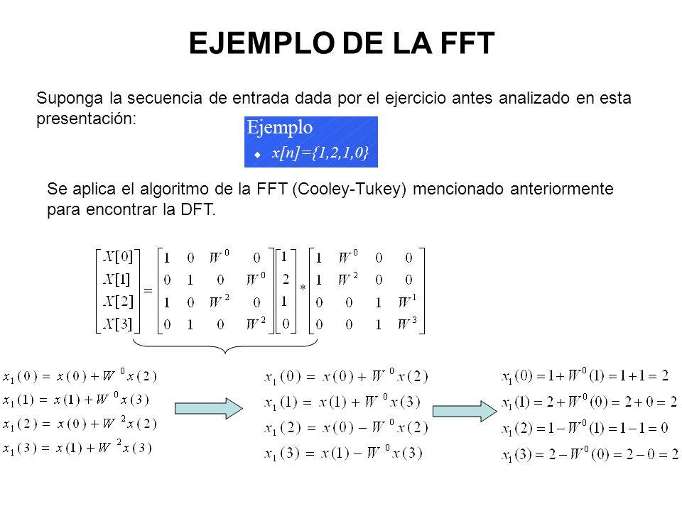 EJEMPLO DE LA FFT Suponga la secuencia de entrada dada por el ejercicio antes analizado en esta presentación: Se aplica el algoritmo de la FFT (Cooley-Tukey) mencionado anteriormente para encontrar la DFT.