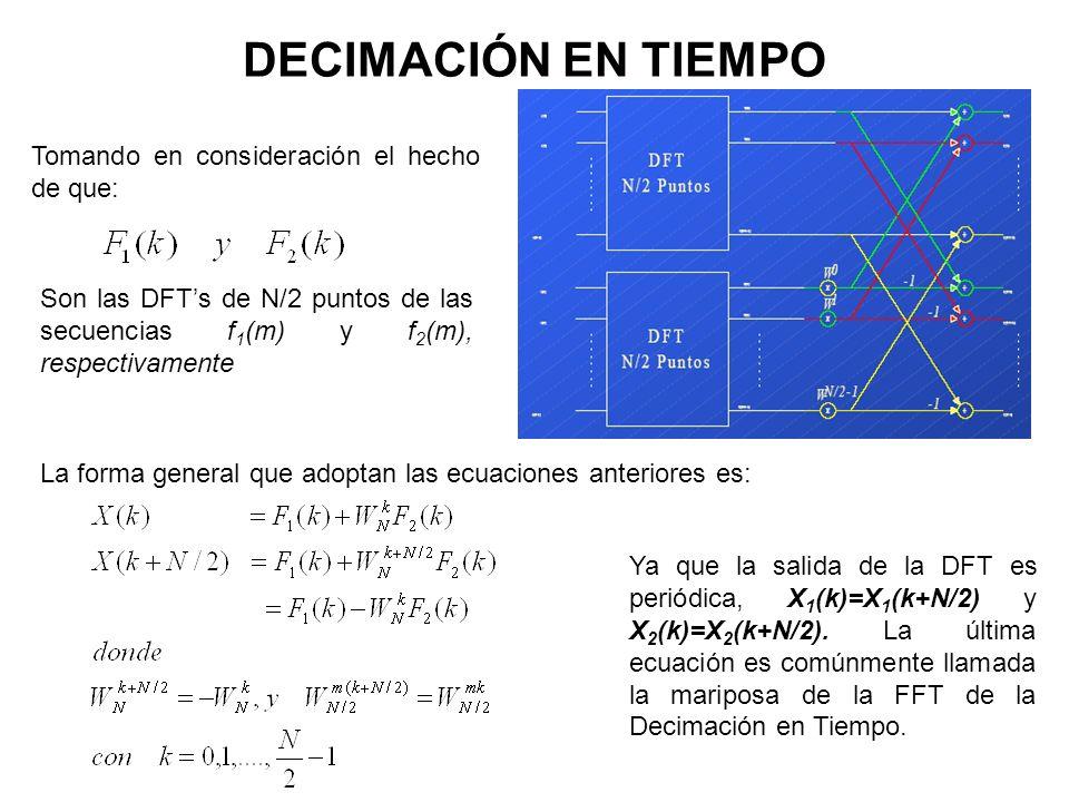 DECIMACIÓN EN TIEMPO La forma general que adoptan las ecuaciones anteriores es: Ya que la salida de la DFT es periódica, X 1 (k)=X 1 (k+N/2) y X 2 (k)=X 2 (k+N/2).
