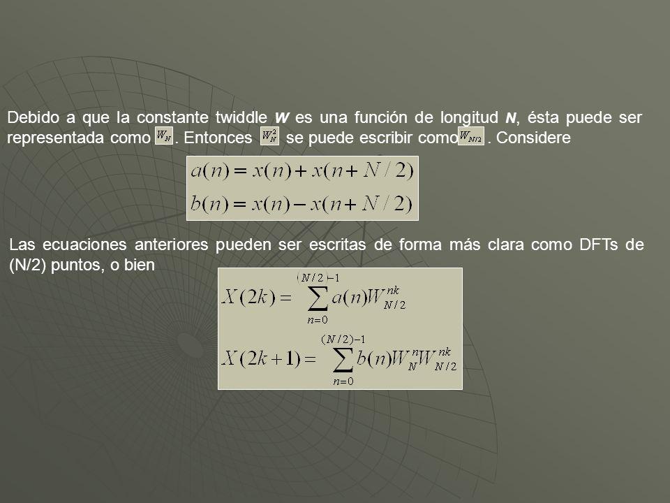 Debido a que la constante twiddle W es una función de longitud N, ésta puede ser representada como.