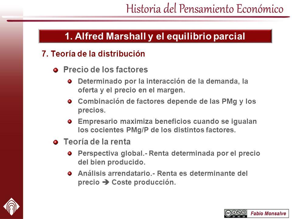 1. Alfred Marshall y el equilibrio parcial Precio de los factores Determinado por la interacción de la demanda, la oferta y el precio en el margen. Co