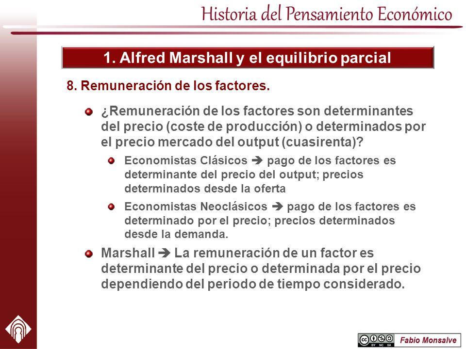1. Alfred Marshall y el equilibrio parcial ¿Remuneración de los factores son determinantes del precio (coste de producción) o determinados por el prec