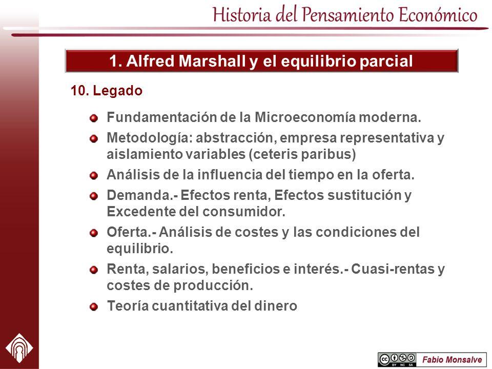 1. Alfred Marshall y el equilibrio parcial Fundamentación de la Microeconomía moderna. Metodología: abstracción, empresa representativa y aislamiento