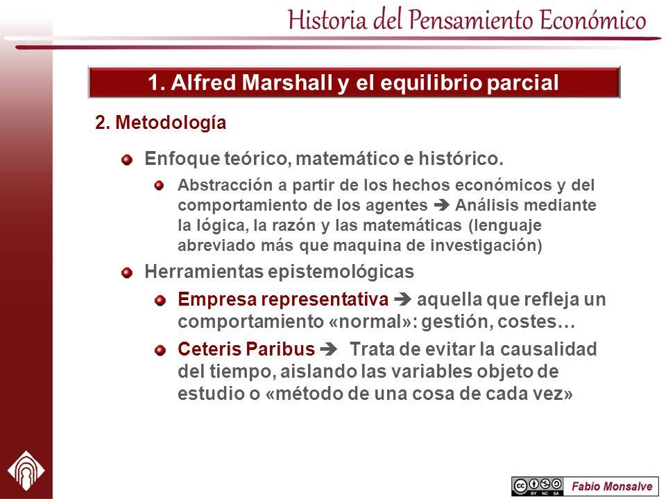 1. Alfred Marshall y el equilibrio parcial Enfoque teórico, matemático e histórico. Abstracción a partir de los hechos económicos y del comportamiento