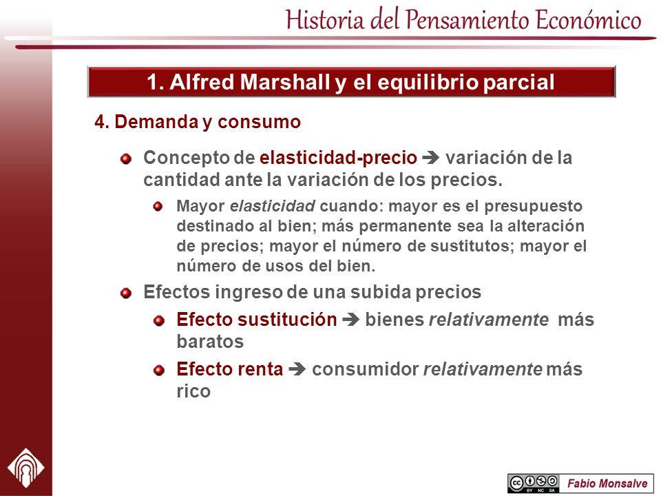 1. Alfred Marshall y el equilibrio parcial Concepto de elasticidad-precio variación de la cantidad ante la variación de los precios. Mayor elasticidad
