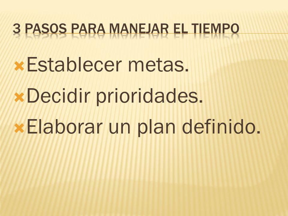 Establecer metas. Decidir prioridades. Elaborar un plan definido.