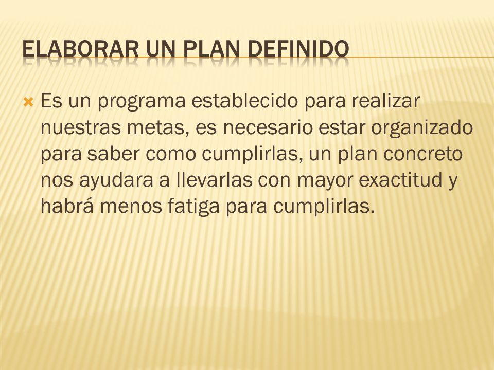 Es un programa establecido para realizar nuestras metas, es necesario estar organizado para saber como cumplirlas, un plan concreto nos ayudara a llev