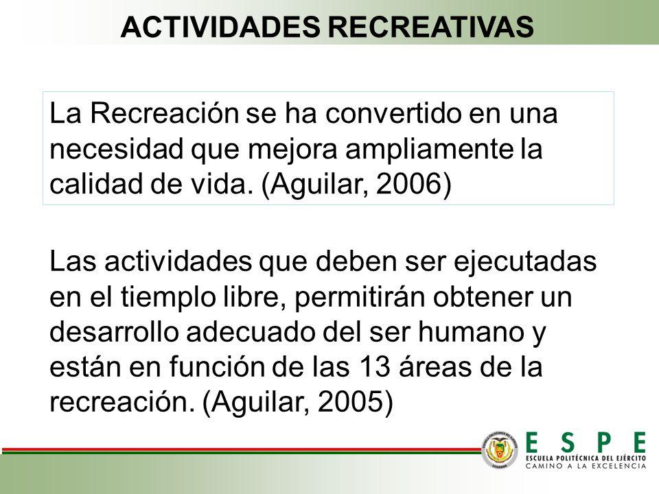 La Recreación se ha convertido en una necesidad que mejora ampliamente la calidad de vida. (Aguilar, 2006) Las actividades que deben ser ejecutadas en