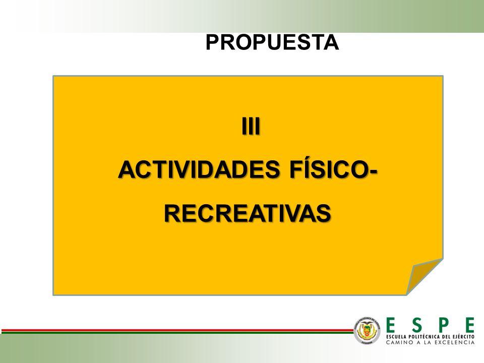 III III ACTIVIDADES FÍSICO- RECREATIVAS PROPUESTA