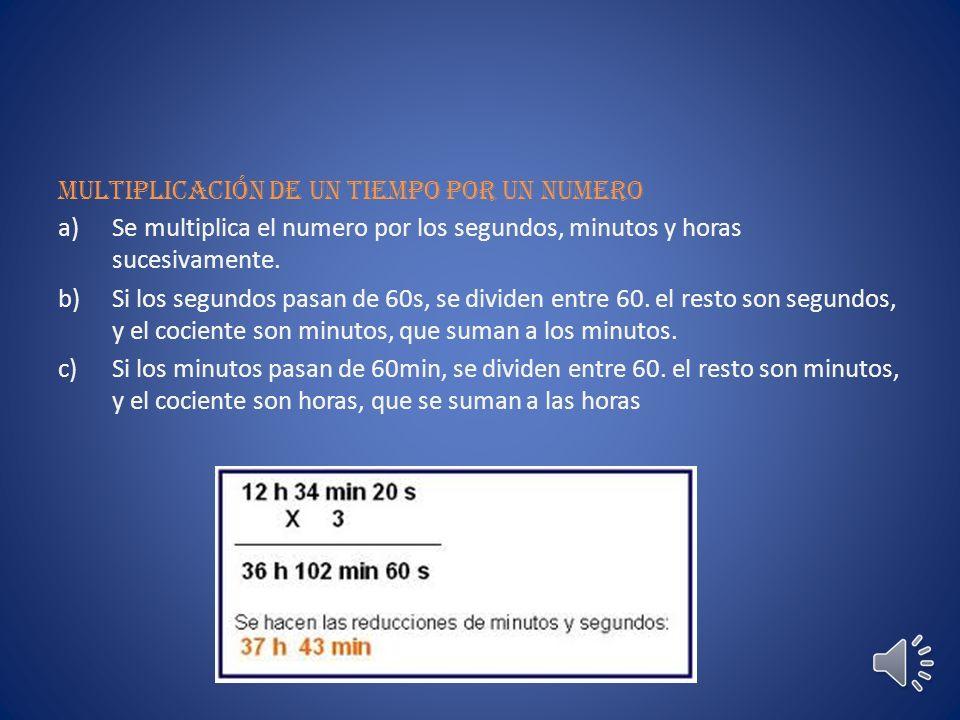 Restar tiempos a)Se colocan las horas debajo de las horas, los minutos debajo de los minutos y los segundos debajo de los segundos.