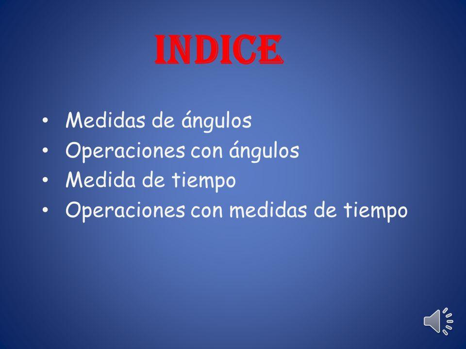 INDICE Medidas de ángulos Operaciones con ángulos Medida de tiempo Operaciones con medidas de tiempo
