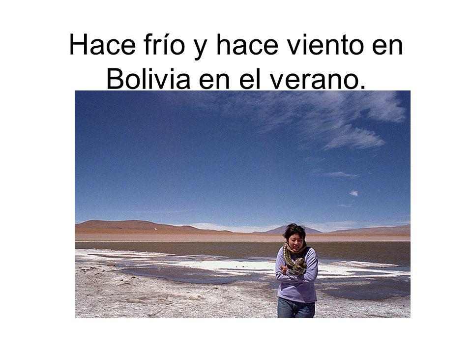 Hace frío y hace viento en Bolivia en el verano.