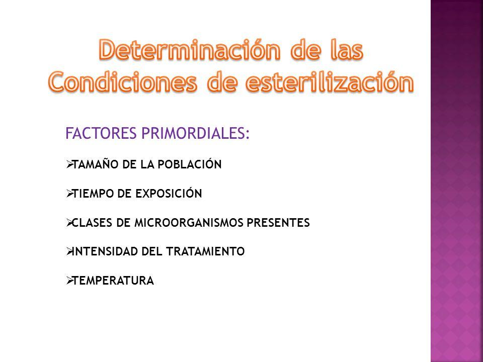 FACTORES PRIMORDIALES: TAMAÑO DE LA POBLACIÓN TIEMPO DE EXPOSICIÓN CLASES DE MICROORGANISMOS PRESENTES INTENSIDAD DEL TRATAMIENTO TEMPERATURA