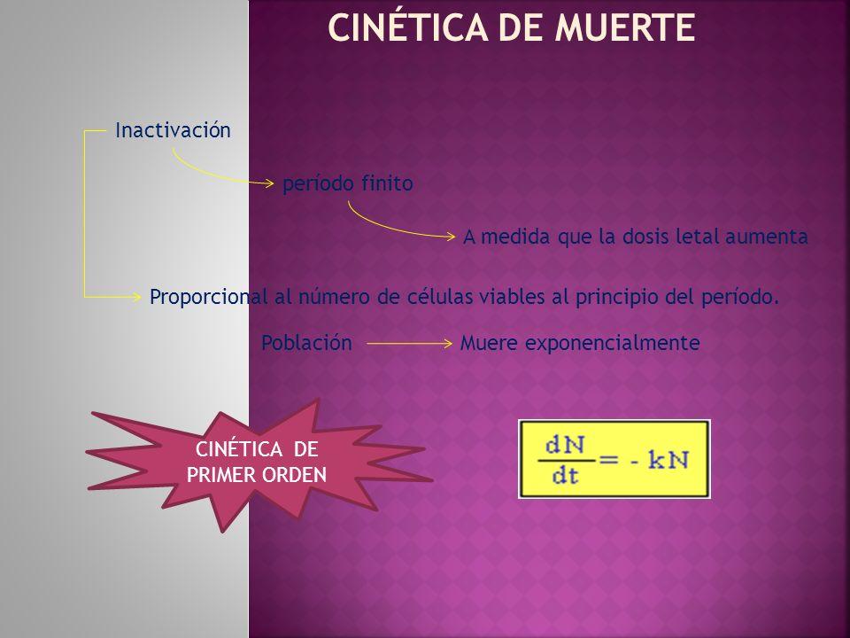 CINÉTICA DE MUERTE Inactivación Proporcional al número de células viables al principio del período. período finito A medida que la dosis letal aumenta