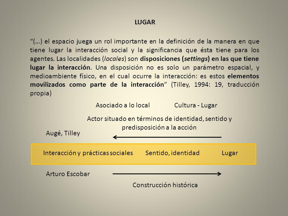 LUGAR (…) el espacio juega un rol importante en la definición de la manera en que tiene lugar la interacción social y la significancia que ésta tiene