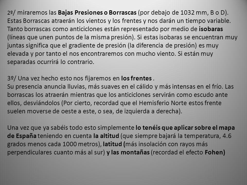 2º / miraremos las Bajas Presiones o Borrascas (por debajo de 1032 mm, B o D).