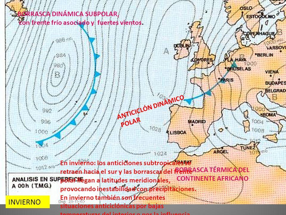 INVIERNO BORRASCA DINÁMICA SUBPOLAR, con frente frío asociado y fuertes vientos.