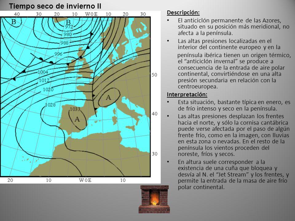 Descripción: El anticiclón permanente de las Azores, situado en su posición más meridional, no afecta a la península.
