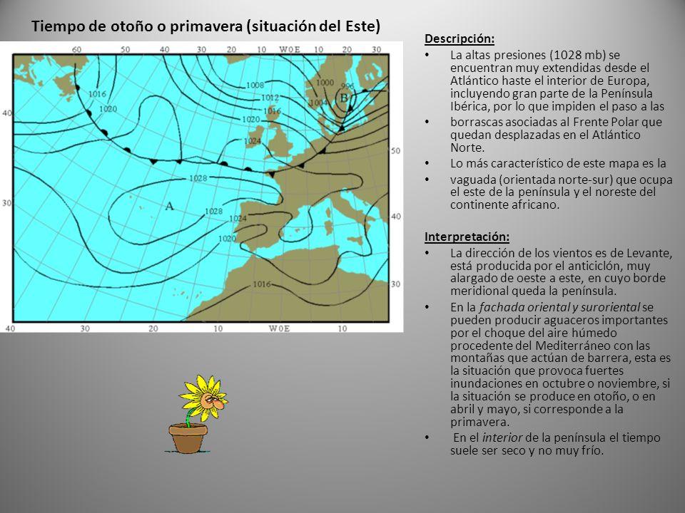 Descripción: La altas presiones (1028 mb) se encuentran muy extendidas desde el Atlántico haste el interior de Europa, incluyendo gran parte de la Península Ibérica, por lo que impiden el paso a las borrascas asociadas al Frente Polar que quedan desplazadas en el Atlántico Norte.