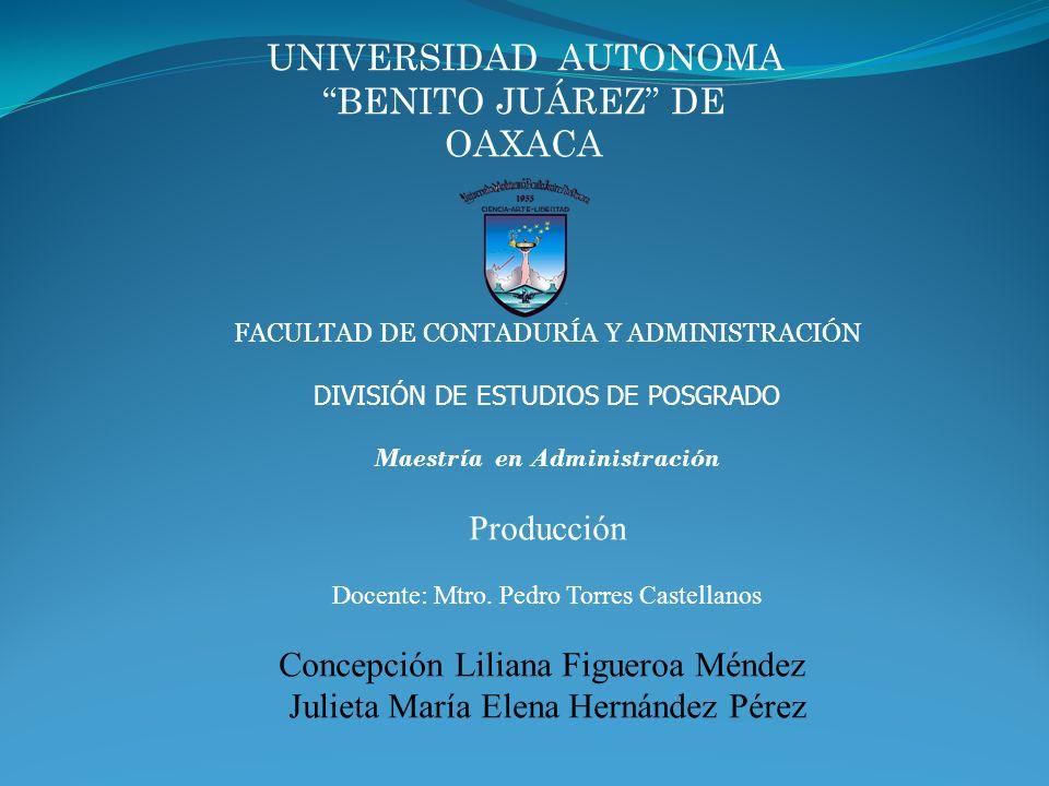 UNIVERSIDAD AUTONOMA BENITO JUÁREZ DE OAXACA FACULTAD DE CONTADURÍA Y ADMINISTRACIÓN DIVISIÓN DE ESTUDIOS DE POSGRADO Maestría en Administración Produ