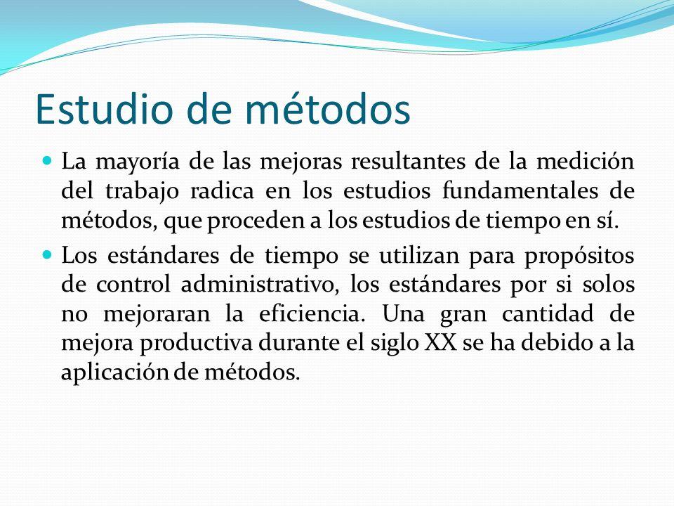 Estudio de métodos La mayoría de las mejoras resultantes de la medición del trabajo radica en los estudios fundamentales de métodos, que proceden a lo