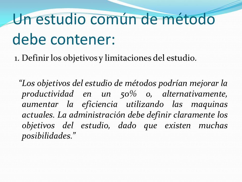 Un estudio común de método debe contener: 1. Definir los objetivos y limitaciones del estudio. Los objetivos del estudio de métodos podrían mejorar la