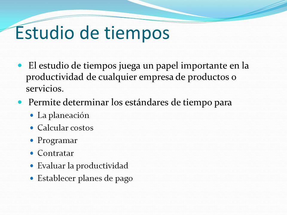 Estudio de tiempos El estudio de tiempos juega un papel importante en la productividad de cualquier empresa de productos o servicios. Permite determin