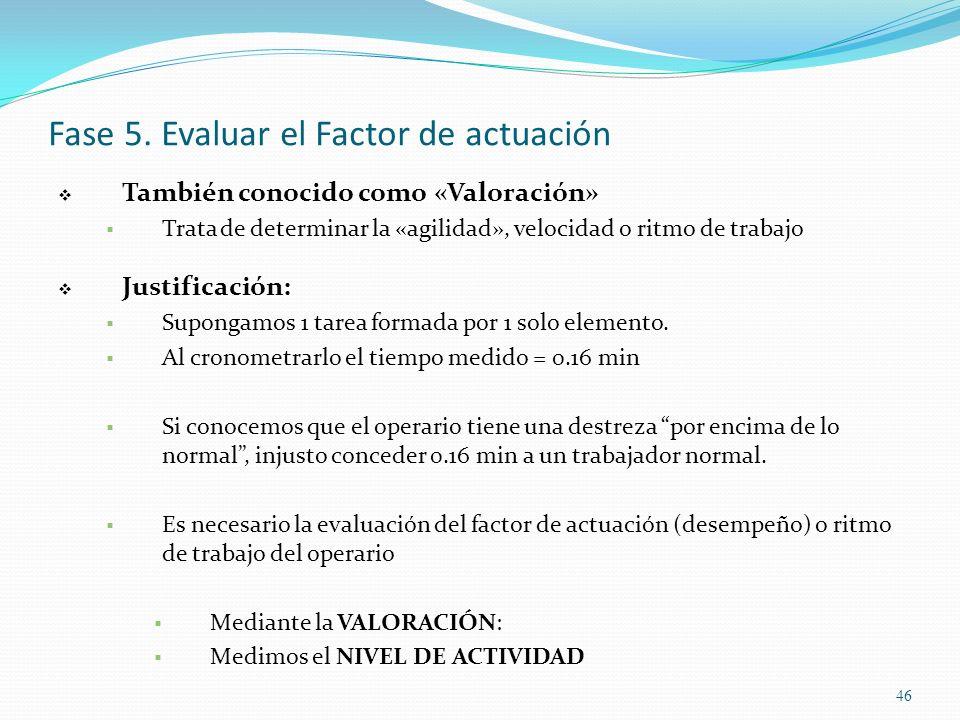 46 Fase 5. Evaluar el Factor de actuación También conocido como «Valoración» Trata de determinar la «agilidad», velocidad o ritmo de trabajo Justifica