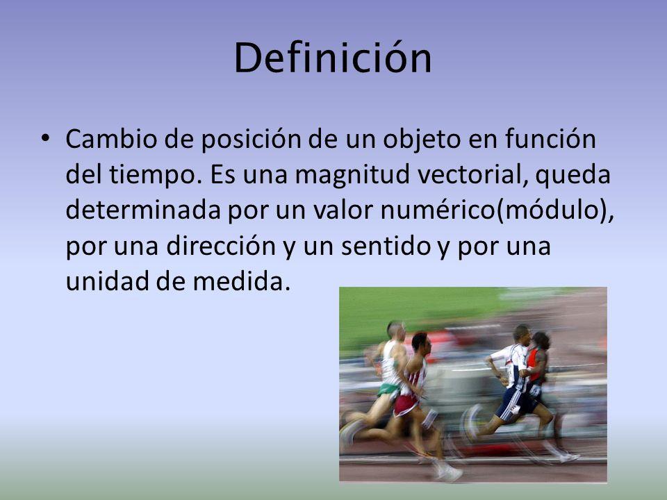 Definición Cambio de posición de un objeto en función del tiempo. Es una magnitud vectorial, queda determinada por un valor numérico(módulo), por una