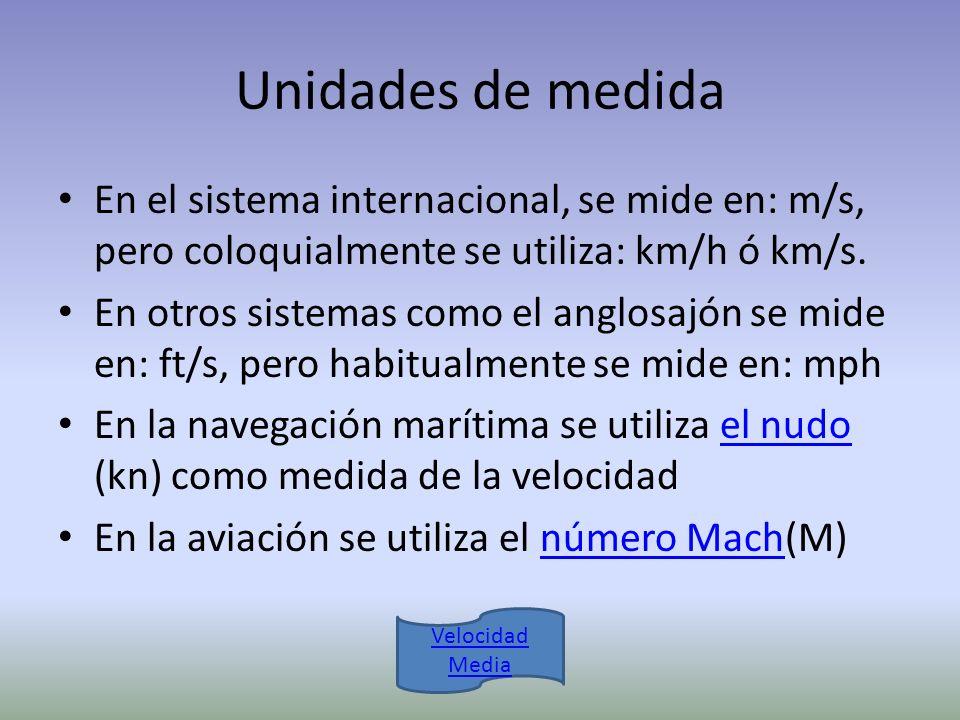 Unidades de medida En el sistema internacional, se mide en: m/s, pero coloquialmente se utiliza: km/h ó km/s. En otros sistemas como el anglosajón se