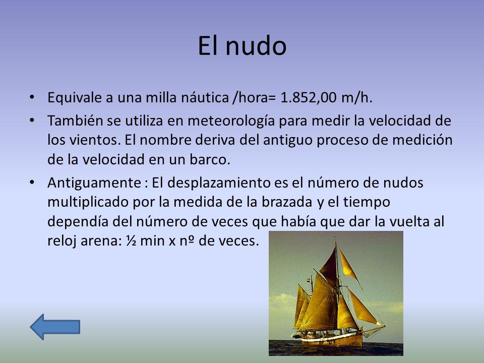 El nudo Equivale a una milla náutica /hora= 1.852,00 m/h. También se utiliza en meteorología para medir la velocidad de los vientos. El nombre deriva
