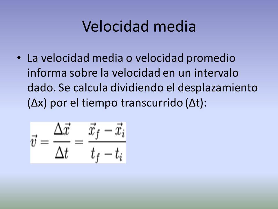 Velocidad media La velocidad media o velocidad promedio informa sobre la velocidad en un intervalo dado. Se calcula dividiendo el desplazamiento (Δx)